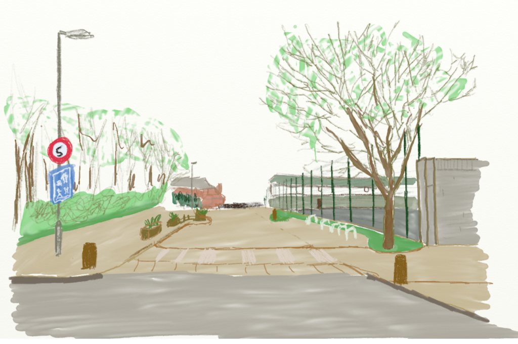 A paint over of Broadclose Hill.